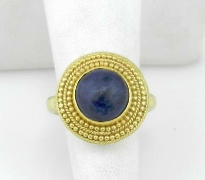 Signed ILIAS LALAOUNIS 18K Yellow Gold Dark LAPIS Detailed RING size 7-1/2