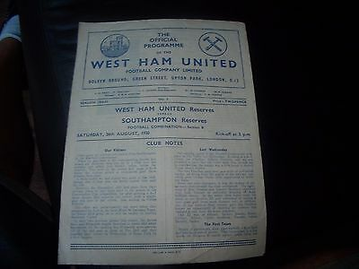 west ham utd reserves v southampton reserves 26/8/1950