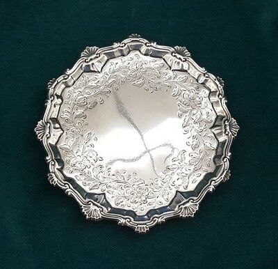 Important 1769 English Sterling Silver Footed Waiters Salver By Elizabeth Cooke