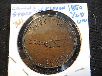 INV #Th61 Canada 1850 Speed The Plough 1/2 penny UNC