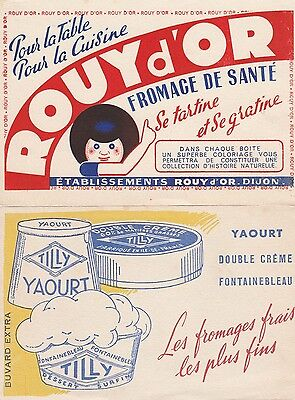 2 BUVARDS FROMAGE ROUY D'OR eT YAOURT TILLY