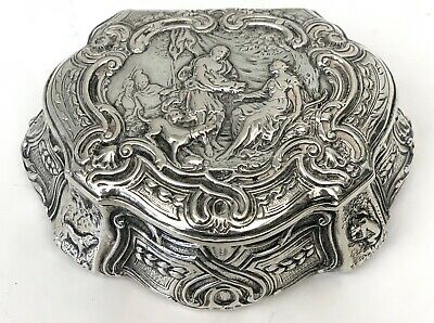 Antique Circa 1900 Magnificent European  Sterling Silver Box, Hand Chased Sceen