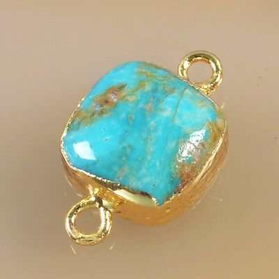 10mm Suqare Natural Genuine Turquoise Connector Gold Plated B041005