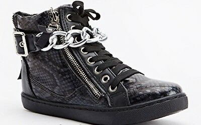 New Boxed Ladies Black Snakeskin Silver Chain High Top Ankle Boots Shoes Size 5