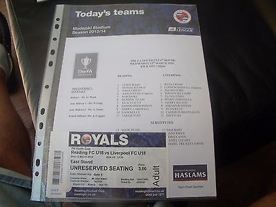 reading youth v liverpool youth 12/3/2014 fa youth cup + ticket