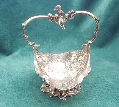 Magnificent 19 Century European Sterling Silver Basket With Figurine Handel