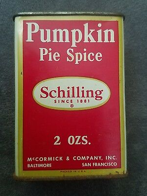 Vintage Schilling pie Spice Tin Can 2oz. Advertising From England