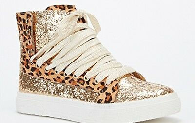 New Boxed Ladies Leopard Print Beige Gold Lace High Top Ankle Boots Shoes Size 5