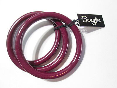 Purple Bangle Bracelets New Old Stock Set Of 3 Chunky Thick Lucite Classic