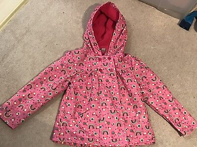 GIRLS JACKET PINK WITH RAINBOWS  - AGE 4-5 YEARS - Fleecy Lining