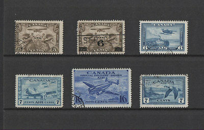 Canada, 6 Old Airmail Stamps, Used