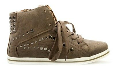 New Boxed Ladies Beige Brown Studded Lace High Top Ankle Boots Shoes Size 4