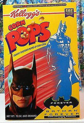 "Kellogg's Corn Pops ""BATMAN FOREVER"" Cereal Box Batman 15 oz never opened Mint"