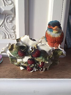 EARLY SITZENDORF BEADED FRUIT KINGFISHER BOWL DISH PATENT 1113 Pottery VINTAGE