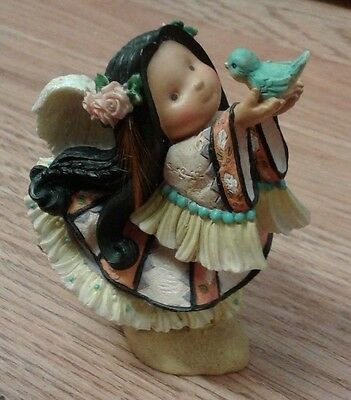 """little Bird Told Me"" Indian Girl With Bird Figurine - Used"