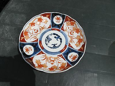 Antique 19th Imari Japanese Plate Meiji Period with Cobalt Blue Hand Painted