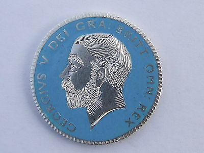 Enamelled Coin , George V Sterling Silver Halfcrown 1919