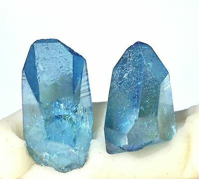Aqua Aura Arkansas Quartz 1 lot of 2 crystals L 20mm W 10-11mm