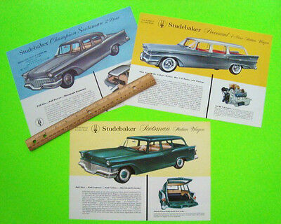 3 Diff 1958 STUDEBAKER Brochures 2-Sided Sheets PROVINCIAL Scotsman XLNT Scarce