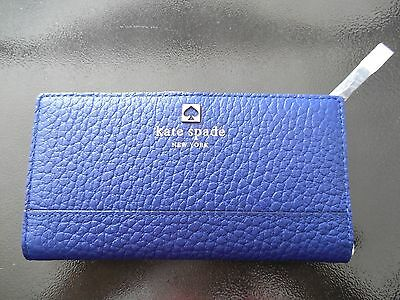 NEW - Kate Spade Southport Avenue Stacy Wallet Blue Pebble Leather NWT