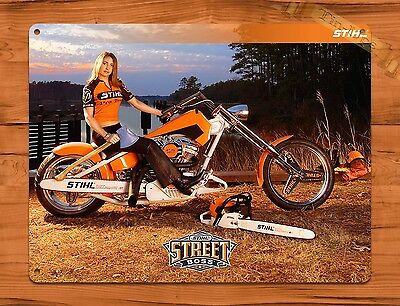 "TIN SIGN ""Stihl Calendar Girl Street Boss"" Vintage Pin Rustic Wall Decor"