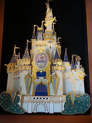Disney Cinderella Castle 50th Anniversary Super Jumbo Pin in Wood hinged Case