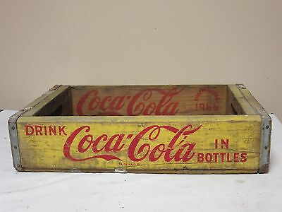 Vintage 1966 Coca Cola Yellow Wood 6 Pack Crate Chattanooga