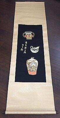 Fine Old Chinese Silk Embroidered Scroll Painting SIGNED Scholar Objects Art NR