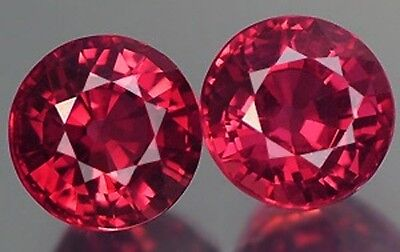 A PAIR OF 4mm ROUND-FACET HYDROTHERMAL HOT-RED RUBY GEMSTONES £1 NR!