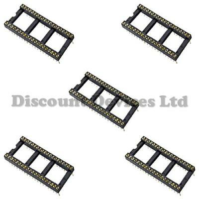 5x DIL-40/DIP40Quality Precision/Turned PIN Open Frame PCB 40 Way IC Socket 0.6""