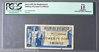 Series 692 Replacement 25¢ U.S. Military Payment Certificate - PCGS Fine 15