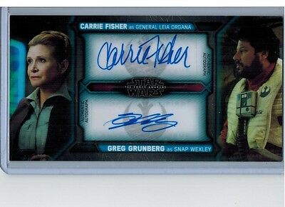 2017 Topps Star Wars TFA Force Widevision Carrie Fisher Greg Grunberg Dual Auto