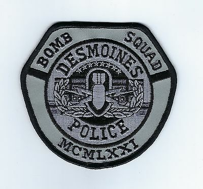 Des Moines (Polk Co.) IA Iowa Police Dept. BOMB SQUAD SUBDUED patch - NEW!