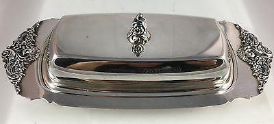 Vintage Wallace Silversmiths Grand Baroque Silverplate Butter Dish W/Glass Liner