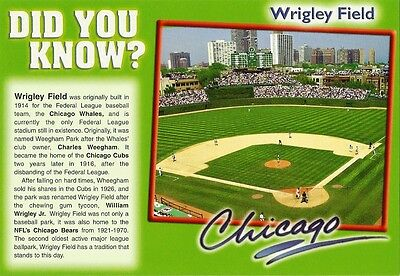 "Postcard IL Chicago Cubs Wrigley Field ""Did You Know?"" Baseball Oversize MINT"