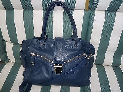 Authentic Michael Kors Large Blue Leather Satchel shoulder bag
