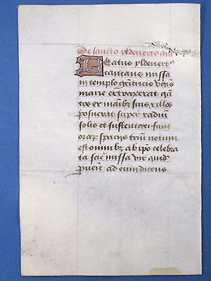 Fine Medieval Book of Hours,Manuscript Leaf,Vellum,Deco.colorful Initia.c.1485