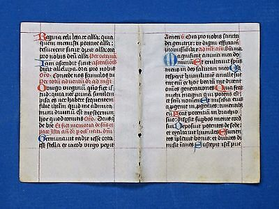 Medieval Vellum Manuscript BoH,double Leaf in Latin,hand painted Initials,c.1480