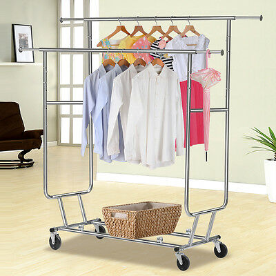 Double Rail Heavy Duty Garment Clothes Collapsible Rolling Rack Hanger Holder