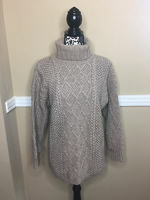J.Crew Tan Turtleneck Chunky Cable Knit Sweater Size XL 100% Wool