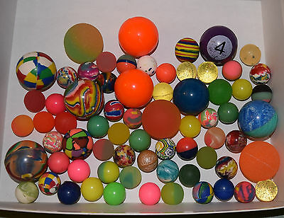 Bounce Bouncy Balls Super Balls LOT of 69 Rubber Assorted Sizes & Colors