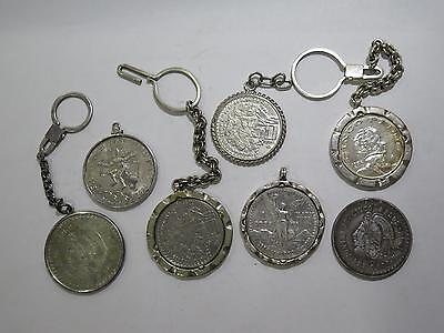Authentic Mexico Coins Used 4 Jewelry Pesos Key Chains Mixed Old Collection Lot