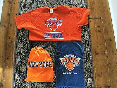 NEW YORK KNICKS NBA APPROVED GYM BAG with TOWEL & SHIRT BRAND NEW + CAP