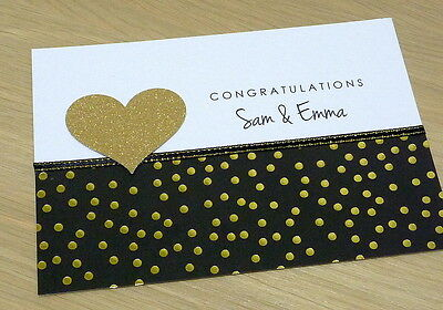 Personalised Wedding Engagement anniversary congratulations card -black & gold