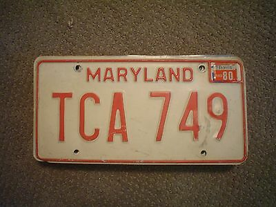 Maryland Red Tca 749 1980        License Plate    Buy All States Here