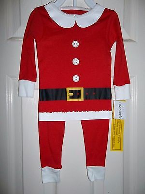 NWT-Carters-Girl's-18 Mo.-2 piece cotton pajama set-Santa Outfit-Christmas-red