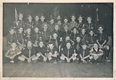 Vintage Photo of Large Group of Boy Scouts and Leaders
