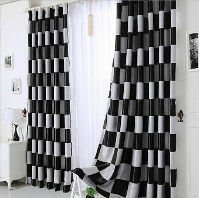 Modern Black/Coffee Big Grid Double Jacquard Living Room Office Curtain Blockout