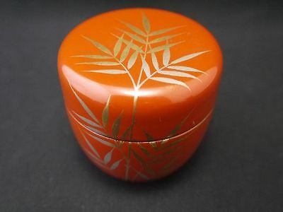 Japanese Traditional Lacquer Wooden Tea Caddy BAMBOO makie Natsume (A27)