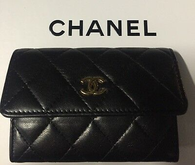 100% authentic CHANEL card holder black leather gold hardware coin purse
